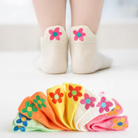 [377101-WHITE BONE] - Kaos Kaki Anak Lucu 5 In 1 Import - Motif Bordir Jasmine Flower