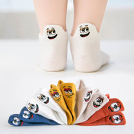 [377101-WHITE] - Kaos Kaki Anak Lucu 5 In 1 Import - Motif Bordir Cheerful Face