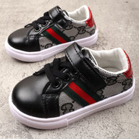 [381101-BLACK] - Casual Shoes / Sepatu Kets Anak Import - Motif Two Color Lines