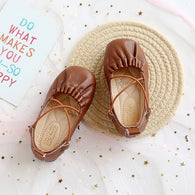 [381109-BROWN] - Sepatu Slip On Anak Import - Motif Two Cross Ropes