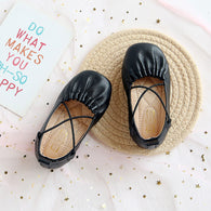 [381109-BLACK] - Sepatu Slip On Anak Import - Motif Two Cross Ropes
