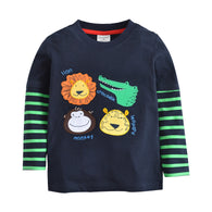 [357352] - Kaos Anak Import / Baju Atasan Summer Anak Trendi - Motif Bordir Four Animals