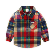jual [119108] - 100%IMPORT Kemeja Anak 3 - 5 Thn Flanel Boxes Red Mix Color [B1201]