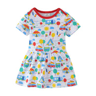 [357406] - Dress Anak Perempuan Modis / Dress Anak Import - Motif Circus Pattern