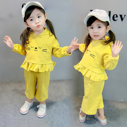 [358194-YELLOW] - Setelan Hoodie Anak Perempuan Kawai Style Import - Motif Bordir Sleeping Cat Face