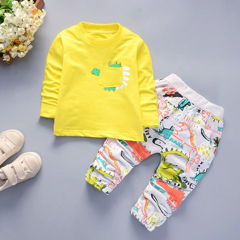 [358109-YELLOW] - 3 in 1 Import Setelan Jalan Anak  - Motif Dinosaur Activity