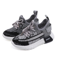[341107-BLACK] - Sepatu Anak Sneakers Sports Import - Motif Weaving