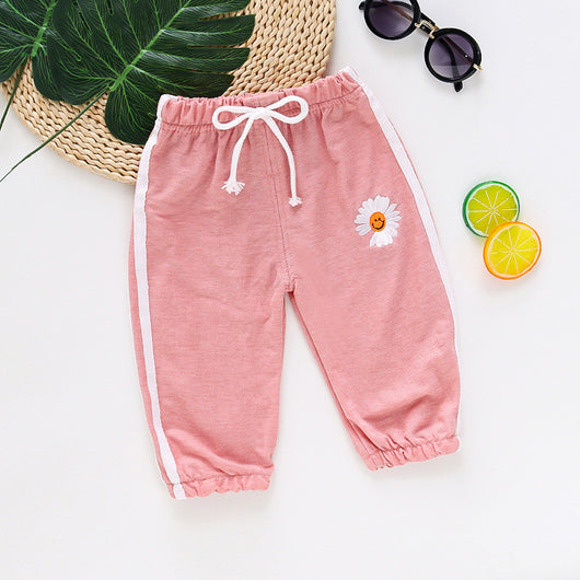 [358211-PINK] - Celana Jogger Anak Import / Celana Training Anak - Motif Beautiful Flower