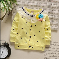 [102138-YELLOW] - Jaket Cardigan Lace Anak Perempuan Flower Dot [B1041]