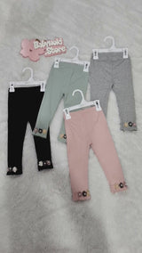 [102202-GRAY] - IMPORT Celana Legging Anak 9 Bln - 2 Thn - Motif Three Flowers