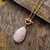 Collier pendentif larme en Quartz rose naturel