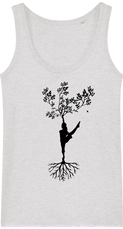Débardeur en coton bio «Yoga Tree 2» pour Femme-Femme>Tee-shirts-Tunetoo-Cream Heather Grey-XS-Mybouddha