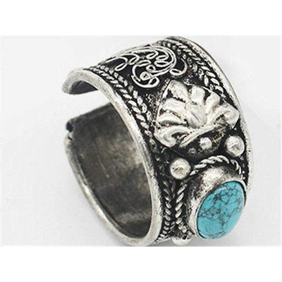 Superbe bague tibetaine ornée d'une turquoise-Mybouddha