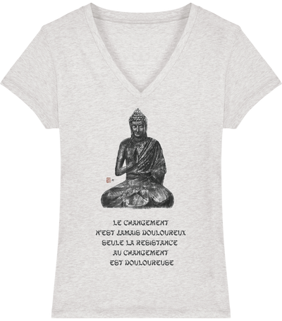 T-shirt col V en coton bio «Le changement» pour femme - Collection Django Ettori-Femme>Tee-shirts-Tunetoo-Cream Heather Grey-XS-Mybouddha