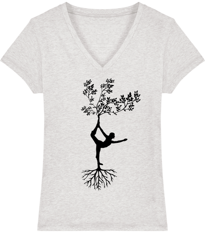 T-shirt col V en coton bio «Yoga tree 1» pour Femme-Femme>Tee-shirts-Tunetoo-Cream Heather Grey-XS-Mybouddha