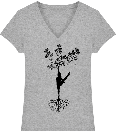T-shirt col V en coton bio «Yoga tree 2» pour Femme-Femme>Tee-shirts-Tunetoo-Heather Grey-XS-Mybouddha