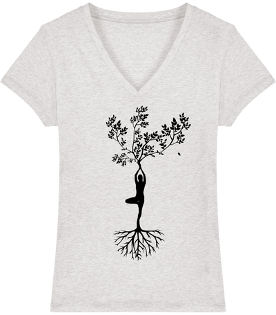 T-shirt col V en coton bio «Yoga tree 3» pour Femme-Femme>Tee-shirts-Tunetoo-Cream Heather Grey-XS-Mybouddha