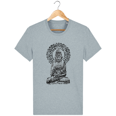 T-shirt en coton bio «Bouddha Mandala» pour Homme - Collection Django Ettori-Homme>Tee-shirts-Tunetoo-Heather Ice Blue-XS-Mybouddha