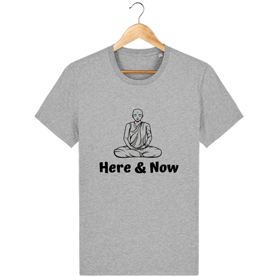 T-shirt en coton bio « Here & Now » pour homme-Homme>Tee-shirts-Tunetoo-Heather Grey-XXS-Mybouddha