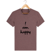 T-shirt en coton bio « I am Happy » pour homme-Homme>Tee-shirts-Tunetoo-Black Heather Cranberry-XS-Mybouddha
