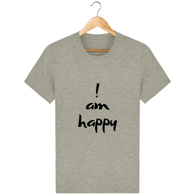 T-shirt en coton bio « I am Happy » pour homme-Homme>Tee-shirts-Tunetoo-Heather Sand-XS-Mybouddha