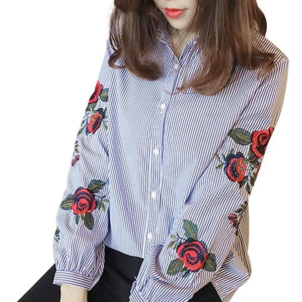 Women Blouses Floral Embroidery Long Sleeve