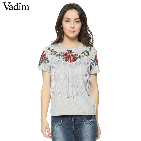 Women Tassel Floral T-shirt Red Rose