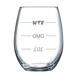 LOL-OMG-WTF 15 oz Stemless Funny Wine Glass - Finally a Wine Glass for Every Mood!