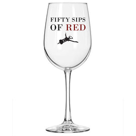 50 Sips of Red - Funny Wine Glass - 16 Oz Libbey Stemmed Glass