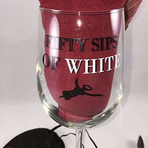 50 Sips of White - Funny Wine Glass - 16 Oz Libbey Glass