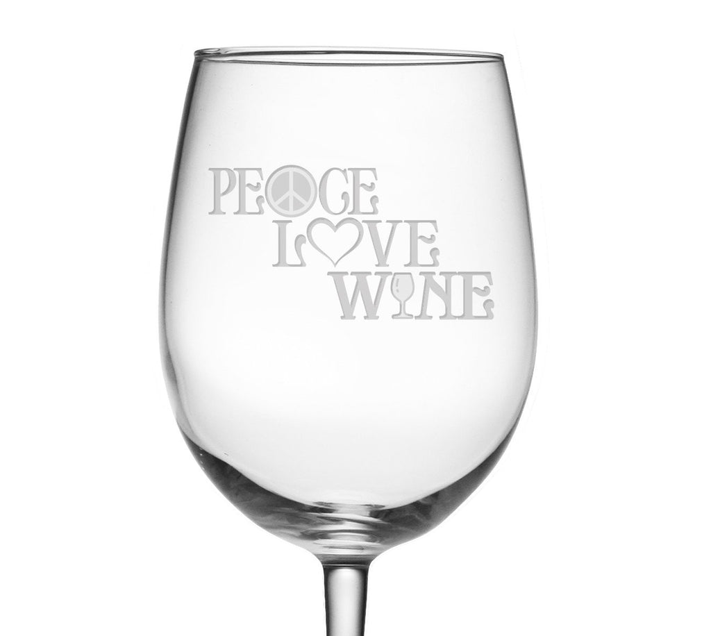 Peace, Love & Wine Etched Wine Glass