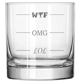 LOL-OMG-WTF Funny Rocks Glass - Finally a Rocks Glass for Every Mood! 11 oz Highball Glass