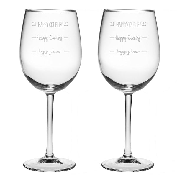 Happy Hour - Happy Evening - Happy Couple Funny Wine Glass - 16 Oz Luminarc Cachet Sandblast Etched
