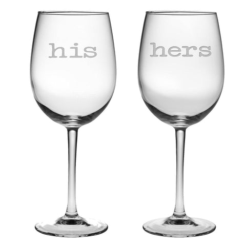 His and Hers Wine Glasses - 16 oz Luminarc Glasses etched with His and Hers - Perfect Couples Gift