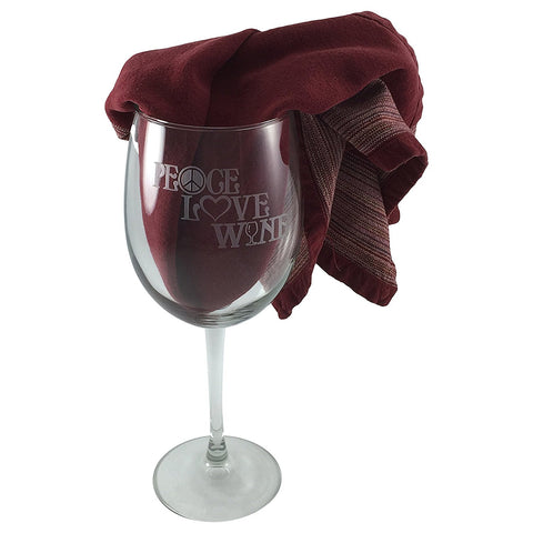Peace, Love & Wine Etched Wine Glass - Peace Symbol, Heart, Wine Glass Design