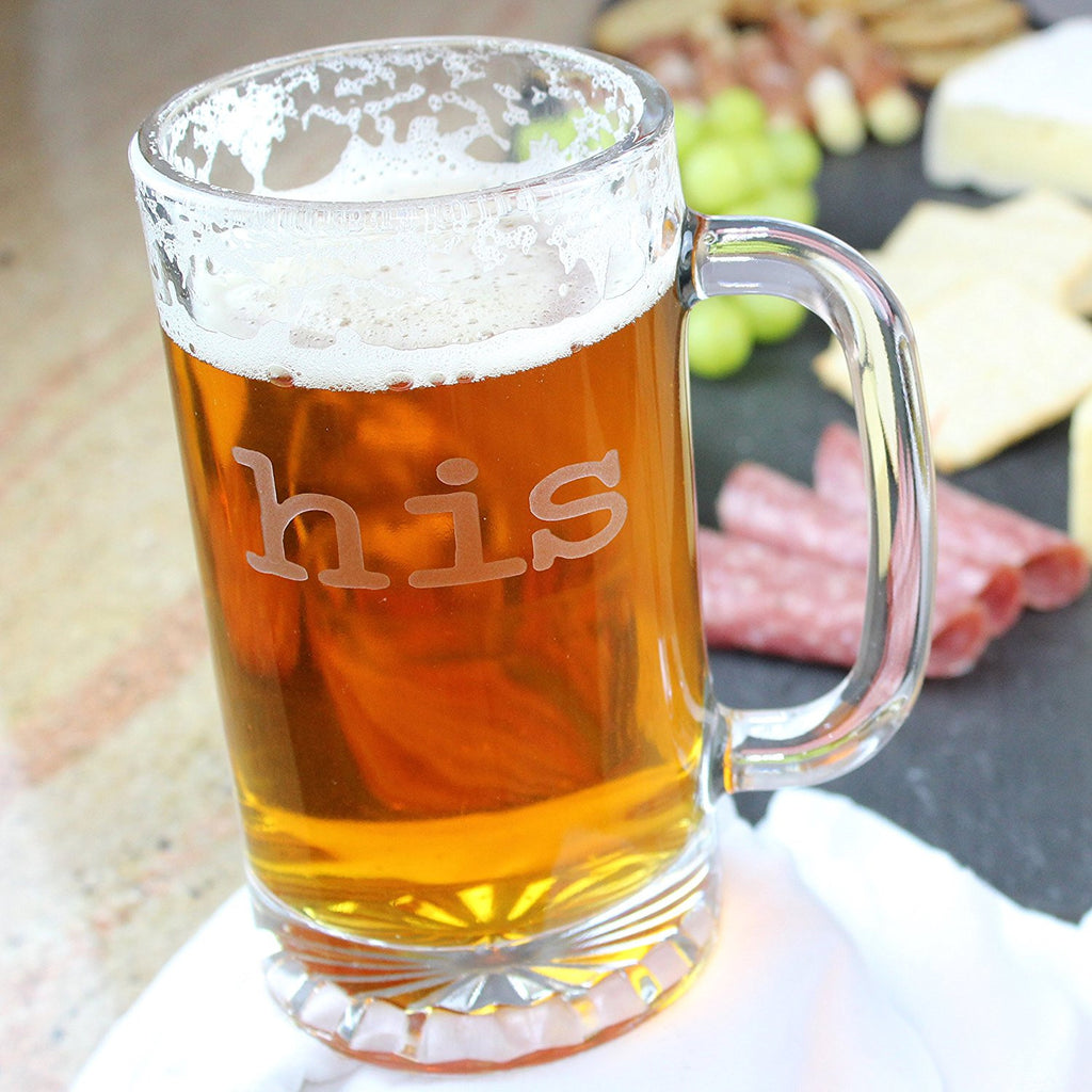 His Beer Mug and Her Wine Glass - 16 oz Beer Mug Etched with His and 19 oz  Wine Glass with Hers