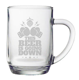 This Beer Is Going Down - Funny Beer Mug - 20 ounce Etched Haworth Mug Gift for Men - Gloves