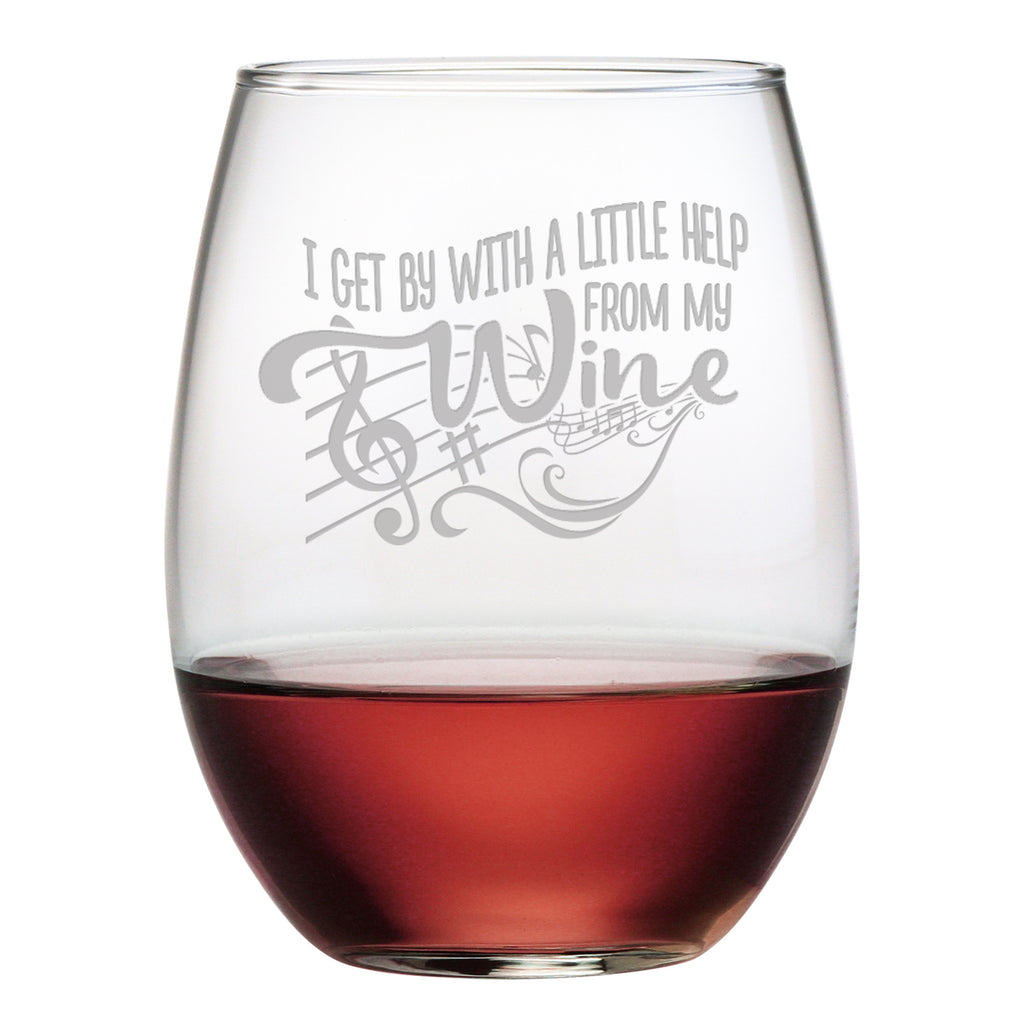 I Get By With a Little Help From My Wine - Stemless Wine Glass