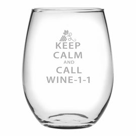 Keep Calm - Call Wine-1-1 - Stemless Wine Glass
