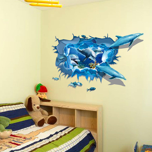 sea aquarium dolphin 3d wall stickers creative wall poster for kids