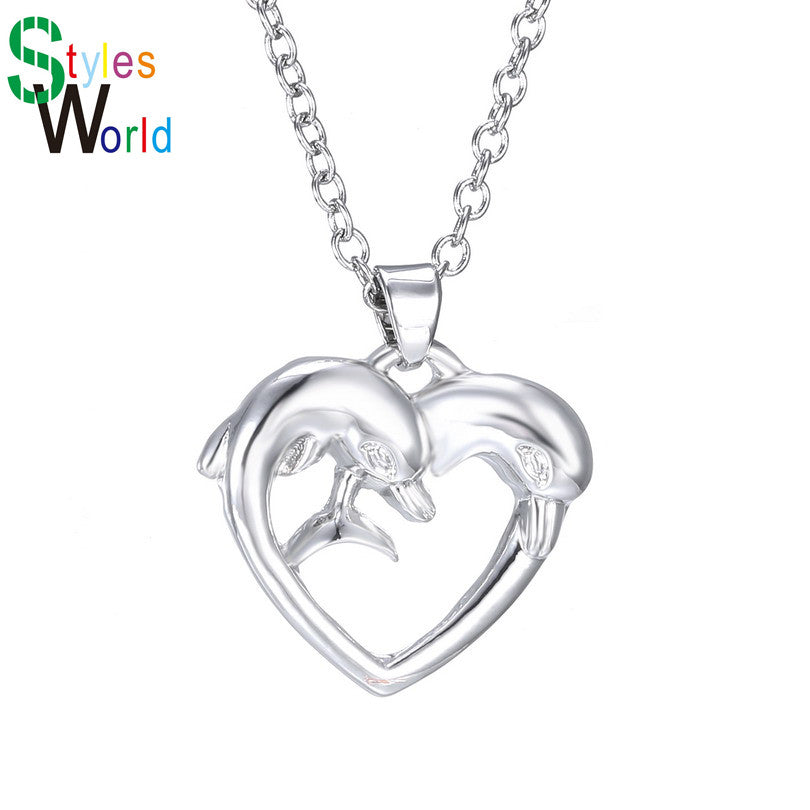 Simple Style Heart Dolphin Animal Pendant Necklaces For Women Silver ...