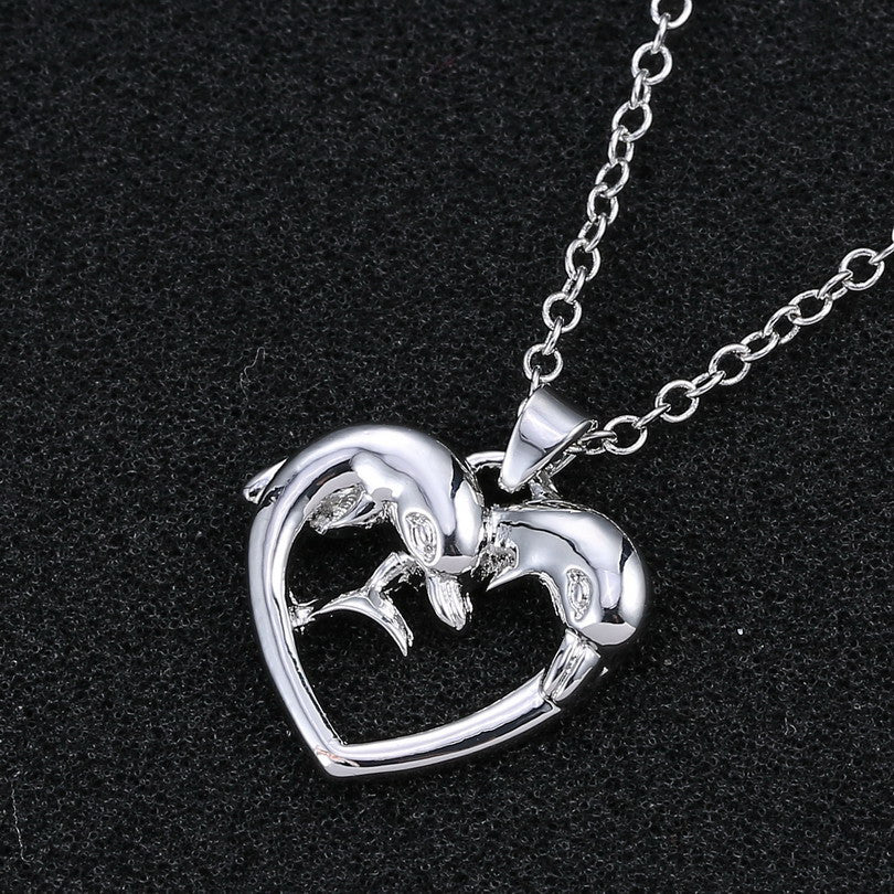 Simple style heart dolphin animal pendant necklaces for women silver simple style heart dolphin animal pendant necklaces for women silver plated link chain popular women jewelry aloadofball Image collections
