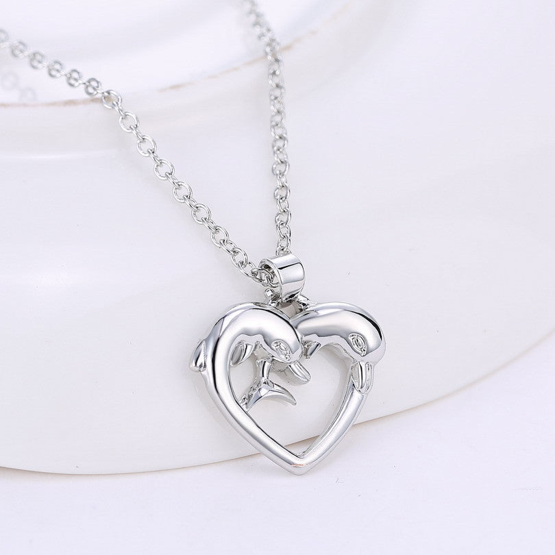 Simple style heart dolphin animal pendant necklaces for women silver simple style heart dolphin animal pendant necklaces for women silver plated link chain popular women jewelry aloadofball Images