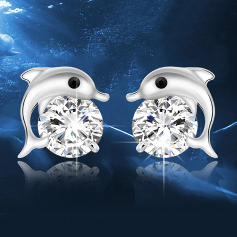 d7dccd4c0c2c3 Women's Cute Dolphin Crystal Rhinestone Zircon Studs Earrings Silver Plated  Simple CZ Diamond Animal Earring Fashion Jewelry