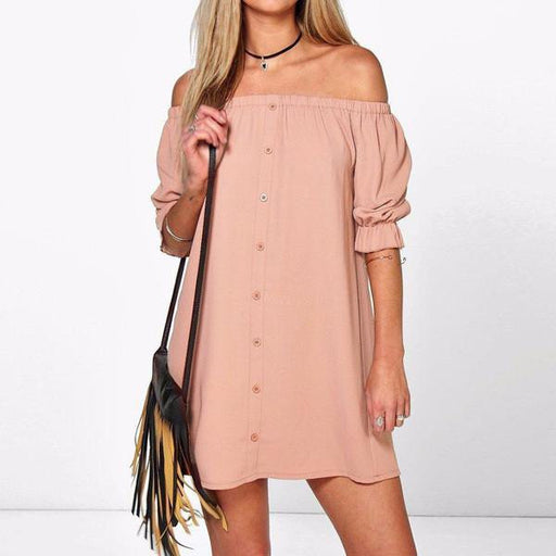 Sexy Boho Off Shoulder Mini Party Dress - HAYKU
