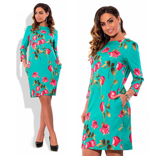 Plus Size Elegant Floral Print Dress - HAYKU