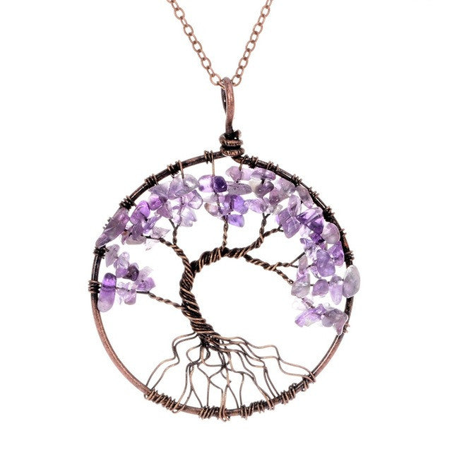 Tree Of Life 7 Chakra Healing Natural Stone Copper Pendant Necklace - HAYKU