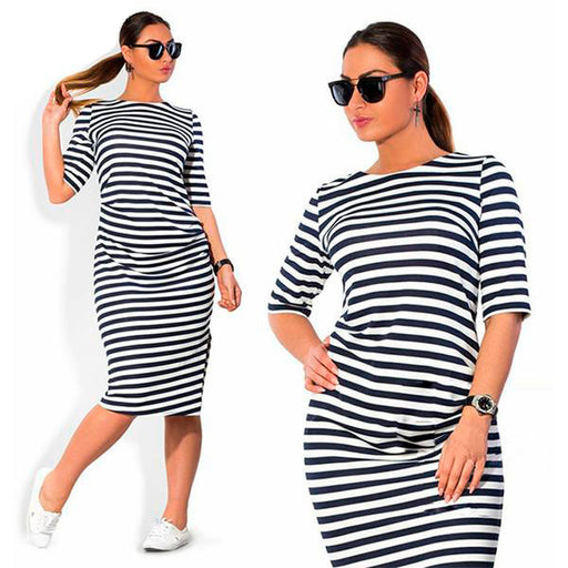Plus Size Fashion Striped Knee-Length Dress - HAYKU