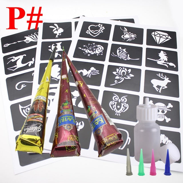 Natural Herbal Temporary Tattoo Kit - 40 Pieces Tattoo Stencils+3pcs Brown Black Indian Henna Tattoo Paste - HAYKU