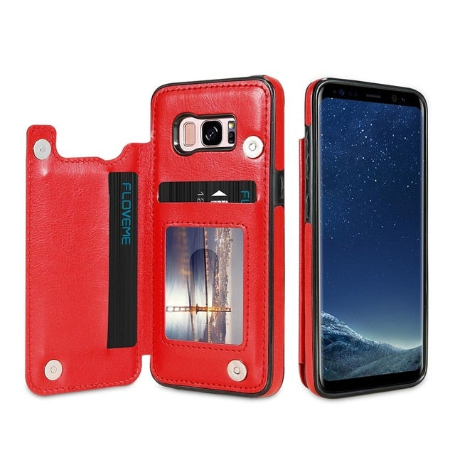 4 IN 1 LUXURY LEATHER CASE FOR SAMSUNG PHONES - HAYKU